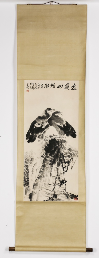 Chinese ink, watercolor scroll painting, two eagles