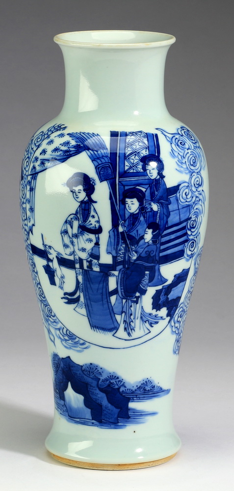 Chinese baluster vase, w/ beauty & attendants