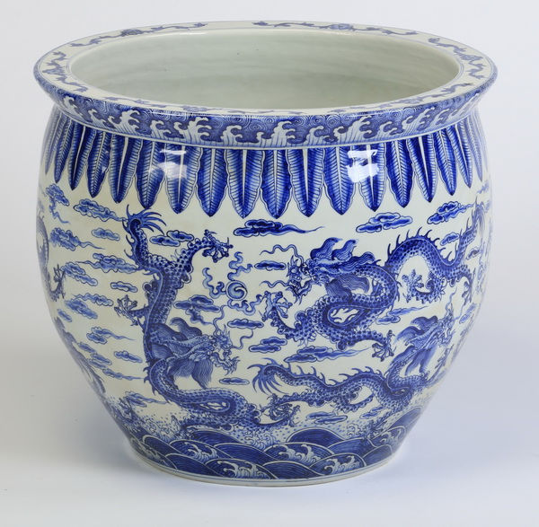 Chinese blue & white bowl w/ dragons, 20