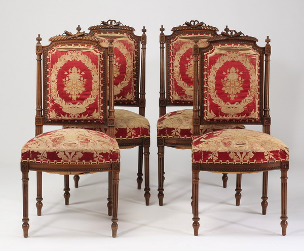 (4) Louis XVI style carved walnut side chairs