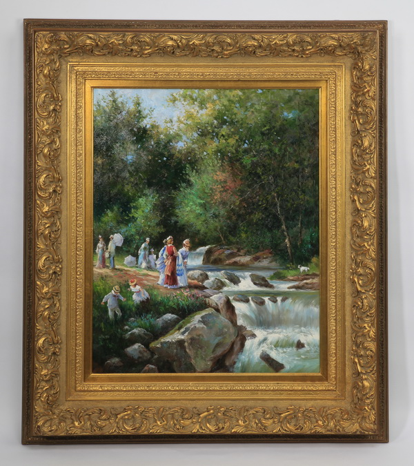 O/c of 19th c. outdoor family scene, 44