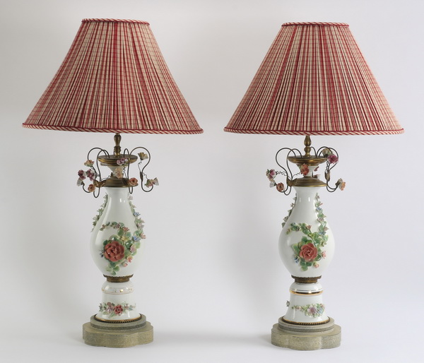 (2) Porcelain and tole lamps, 35