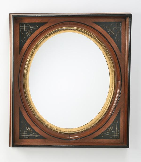 19th c. carved walnut mirror, 41