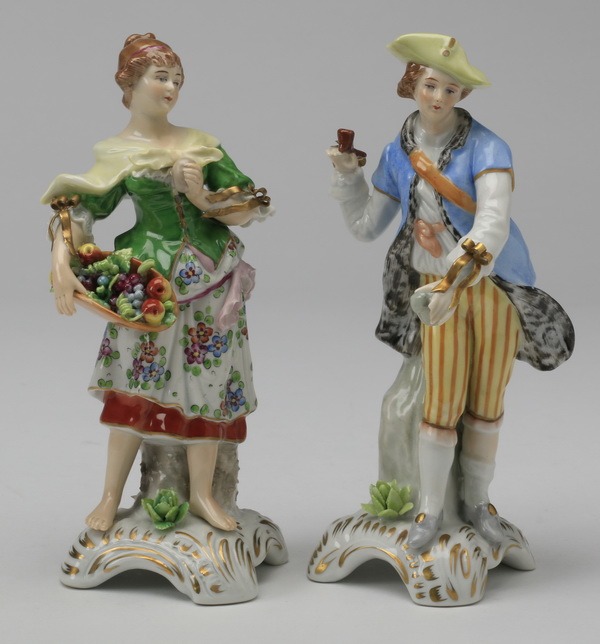 (2) 19th c. German porcelain figures, marked