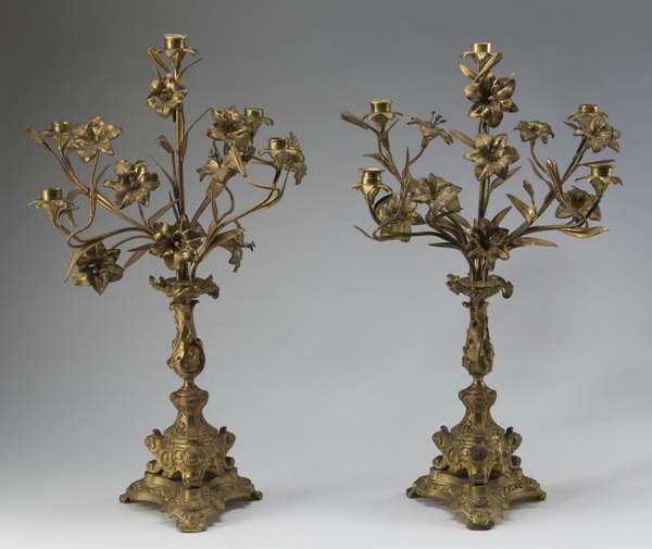 (2) Early 20th c. gilt metal 5-light candelabra, 25