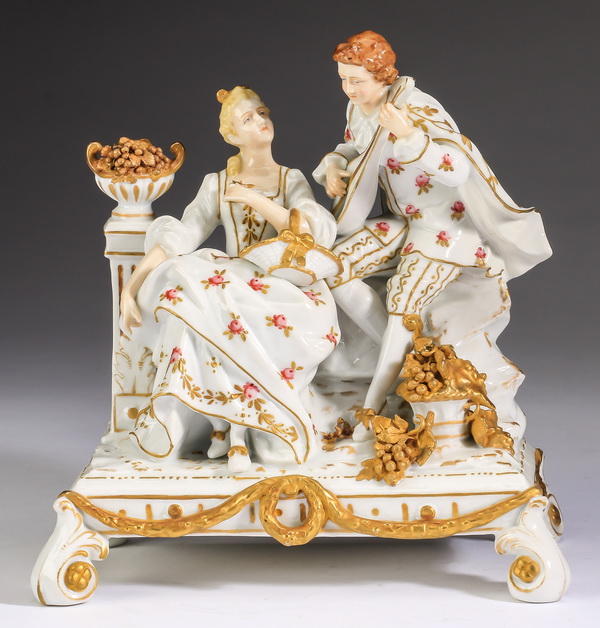 Late 19th c. Muller porcelain grouping, marked