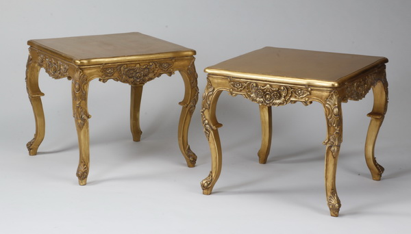 (2) Giltwood side tables in the French taste