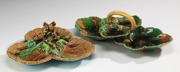 19th c. majolica sweetmeats incl. Wedgwood