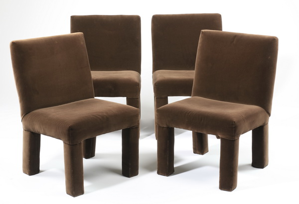 (4) Contemporary side chairs in velvet