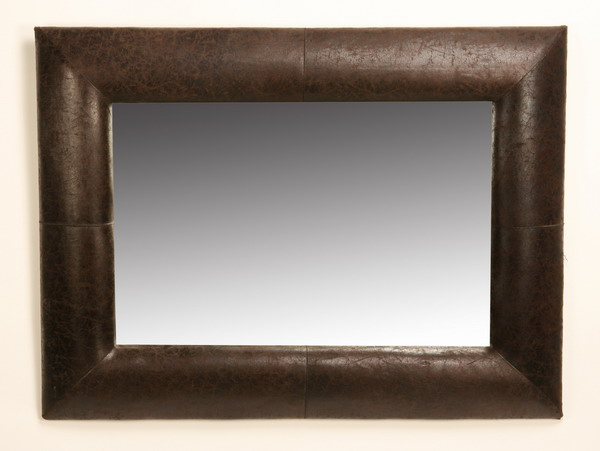 Beveled mirror in leather frame 3' x 4'