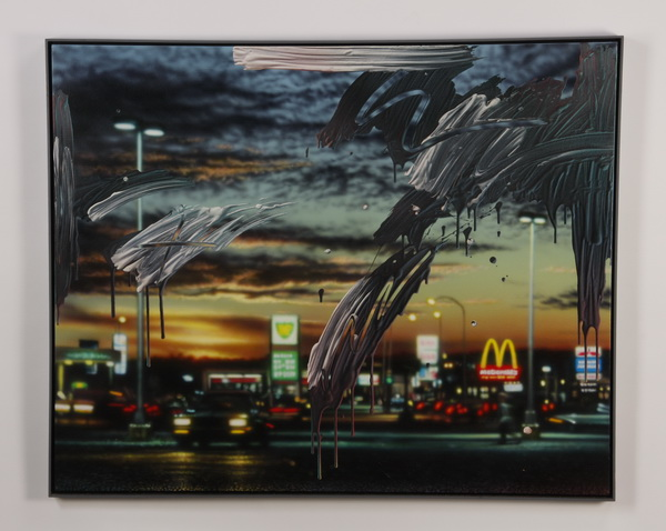 Bruce Evans signed acrylic on canvas, 'Rush Hour'