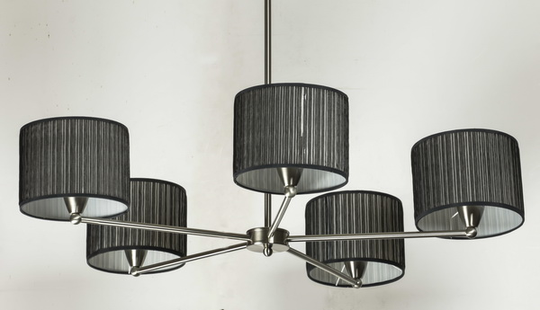 Contemporary chrome chandelier w/black pleated shades