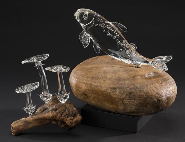 (2) Hand formed crystal art glass sculptures