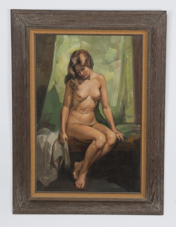 A. L. Karafyllakis O/c of seated nude beauty, signed