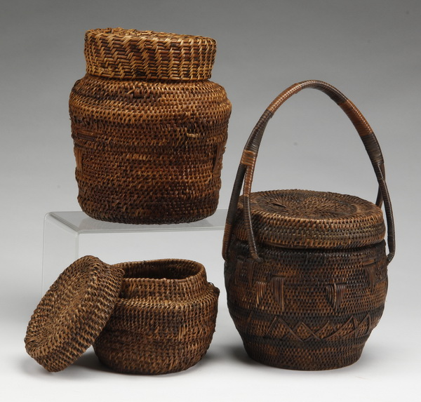 (3) African baskets with covers
