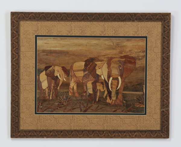 Marquetry inlay elephant artwork, 29