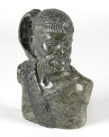 Carved serpentine marble Zulu bust