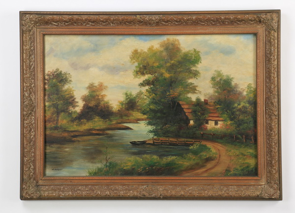 20th c. American School O/c country scene, signed