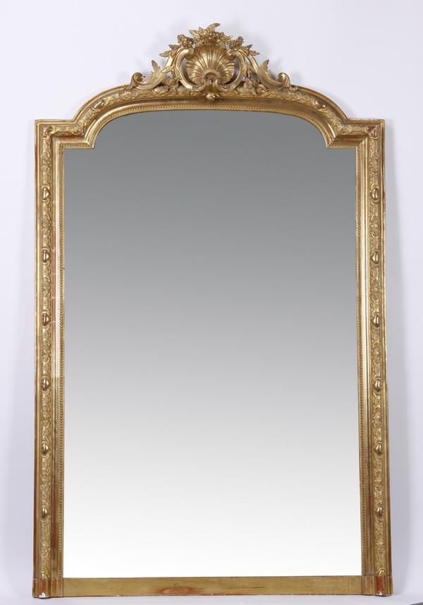 19th c. French gilt wood mirror, 71