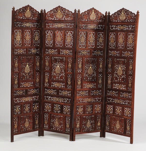 Indian Jali four panel floor screen, 80