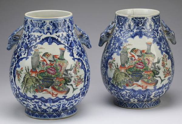 (2) Chinese Hu vases with spotted deer and Fu bats