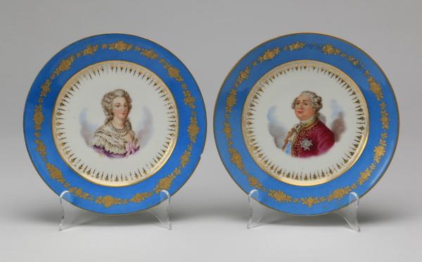 (2) 19th c. Sevres style portrait plates