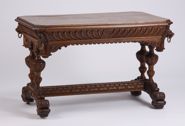 19th c. English carved oak library table