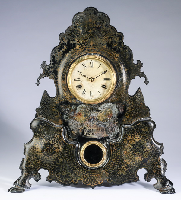 American decorative metal mantel clock, 19th c., 20