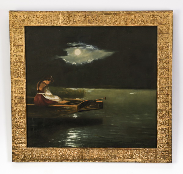 19th c. O/c, girl on moonlit lake, signed, 25