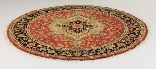 Hand-knotted circular Sino-Tabriz rug, 8' dia
