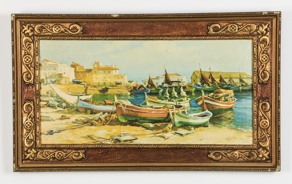 After Sarquella, framed giclee' of boats ashore