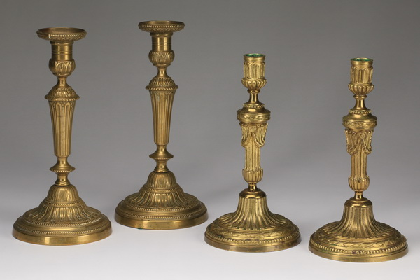 (4) Neoclassical style gilt candleholders