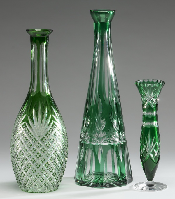 (3) Continental emerald cut to clear crystal vases
