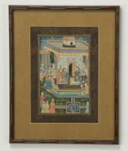 Indo-Persian gouache on cloth, court scene, framed