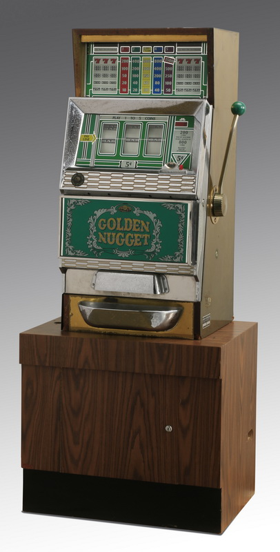 'Golden Nugget' slot machine with stand, 63