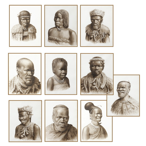 (10) Watercolor Zulu portraits, signed Gerard Bhengu