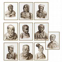 (10) Watercolor Zulu portraits, signed Gerard Bhengu