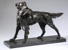 Bronze sculpture of a hunting dog, 22