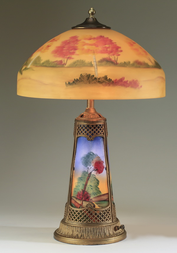Early 20th c. reverse painted glass table lamp, 25