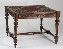 19th c. French carved walnut games table, 46