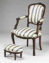 Louis XV style French fauteuil and footstool