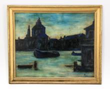 20th c. O/masonite of Venice at dusk, signed.