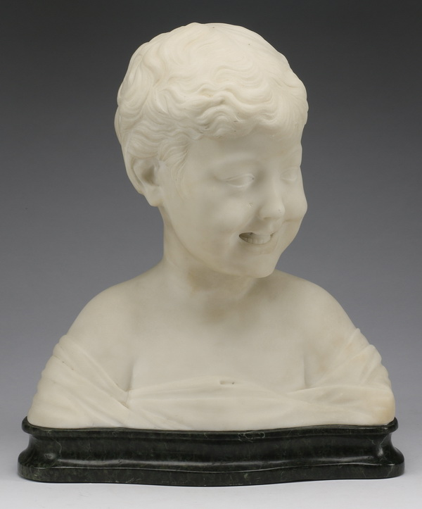 19th c. Italian marble bust of laughing boy