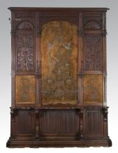 French carved oak hall tree w/ embroidered panel