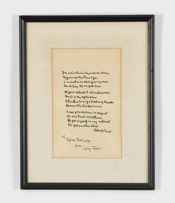 Inscribed Robert Frost poem by Frost's daughter