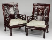 (2) Chinese rosewood armchairs with mother of pearl