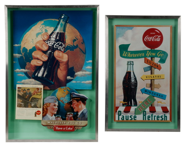 (2) Vintage style Coke posters in shadowboxes, 52