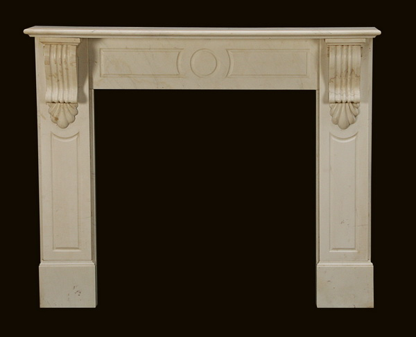 Louis XVI style carved white marble mantel