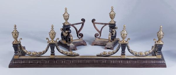 3-Piece English Regency style fireplace set, 19th c.