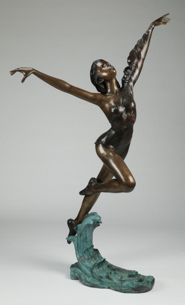 Patinated bronze sculpture of a dancer, 76